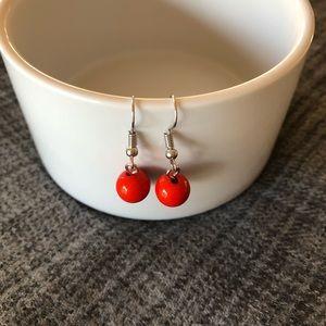 Vintage-inspired orange-red bead dangly earrings!